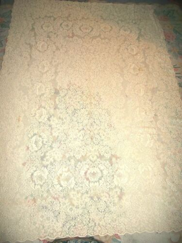 VINTAGE IVORY QUAKER LACE DINNER CLOTH TABLE CLOTH  RECTANGLE SIZE 62 X 92