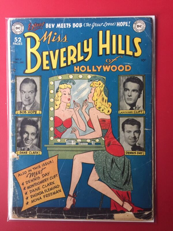 MISS BEVERLY HILLS OF HOLLYWOOD #5 GOLDEN AGE DC  Bob Hope  1949 Rhonda Flemming