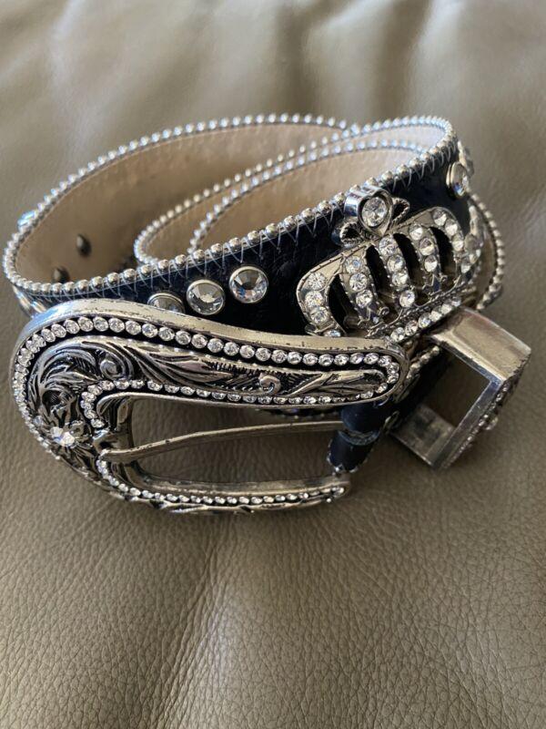 "B.B. Simon ""Jet Black Crown"" Swarovski Crystal Belt 46 Fits Petite to Large"