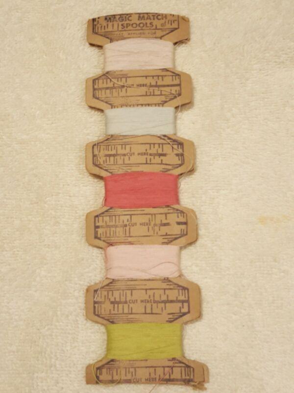 Vintage Magic Match Spools Of Thread On Cardboard Stock