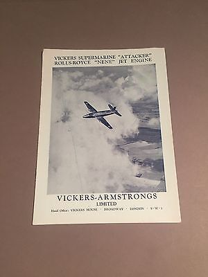 VICKERS ARMSTRONGS SUPERMARINE ATTACKER MANUFACTURERS SALES BROCHURE CUTAWAY