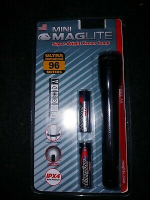 NEW Mini Maglite BRIGHT XENON Black M2A016L With Batteries Mag Lite AA