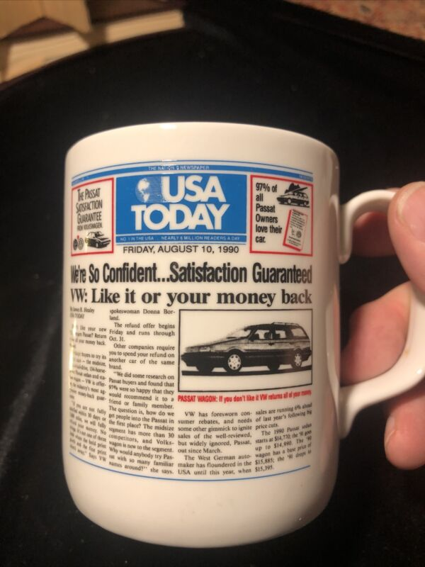 Vintage VW Volkswagen USA Today Coffee Mug Cup Money Back Advertising Campaign