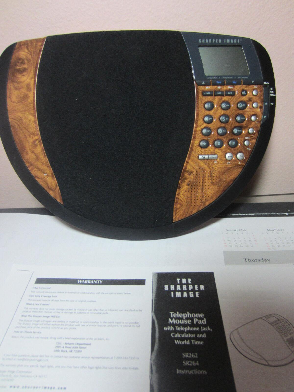 Sharper Image Telephone Mouse Pad Clock Calc SR262 Woodgrain # 679 u