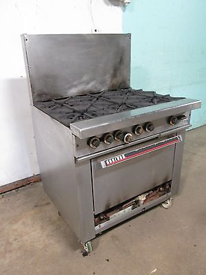 Garland H-286 Commercial Hd Nsf Natural Gas 6 Burners Stove Woven Casters