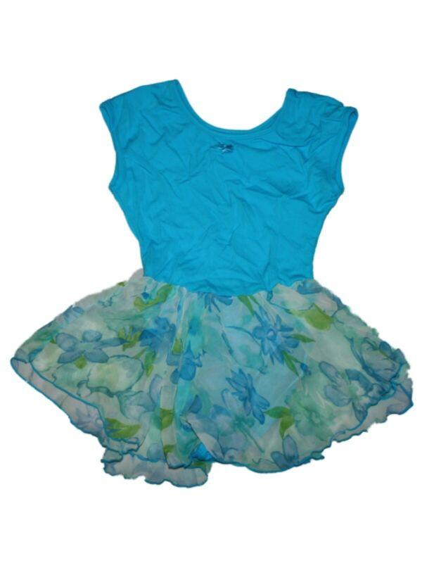 Girl Blue Floral Skirted Jacques Moret Leotard Ballet  Dance Size M 8/10