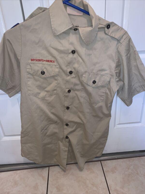 Boy Scout BSA UNIFORM SHIRT Mens Small Short Sleeve Tan L67