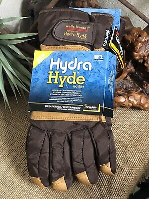 Mens Hydrahyde 150 Gram Insulated Leather Fabric Gloves Sz X-l Wells Lamont