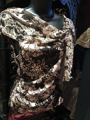Vintage Brown And Pink Lace Gothic Corset Bustier Top