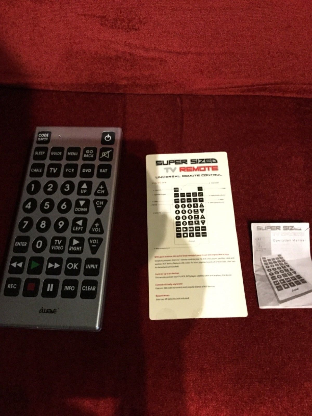 Iwave supersize TV remote with instructions never used no box model RC 5000