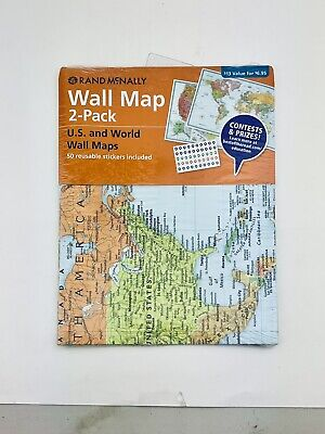Rand McNally Wall Map 2 Pack Us And World Maps Bous 50 Stickers 50 X 32