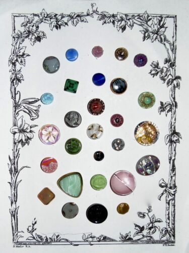 SALE Card of 28 Various Vintage Glass Buttons Including Moonglows