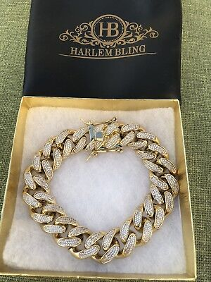 "Mens ICY Cuban Miami Link 8.5"" Bracelet 14k Gold Plated 15mm 18ct Lab Diamonds"