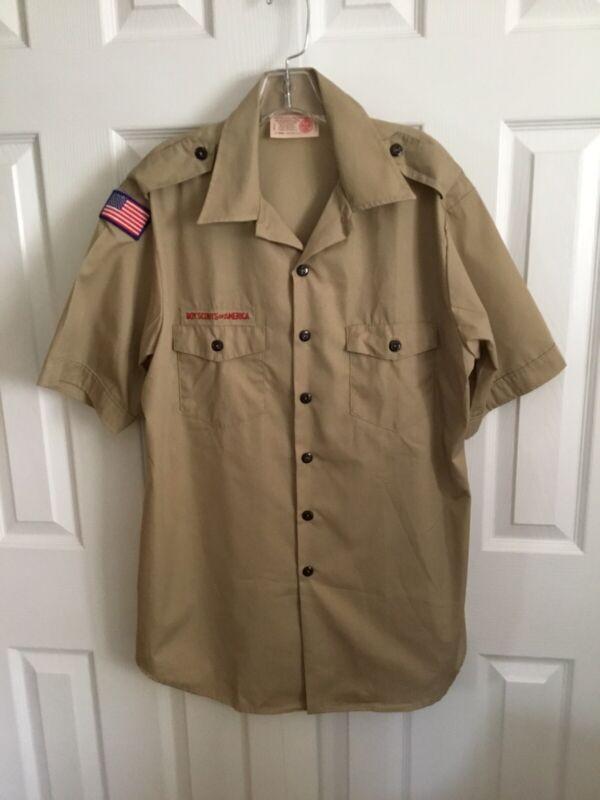 BSA Tan Short Sleeve Official Men's Shirt Size Men's Large (18–18-1/2)