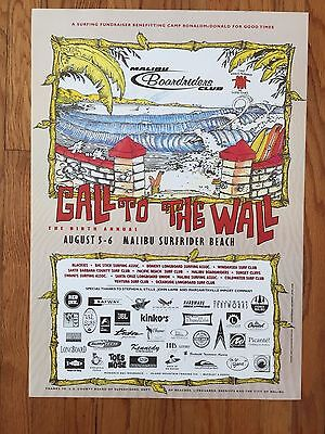 Malibu Call To The Wall Surf Contest Surfing Lance Carson Surfboard Beach Poster