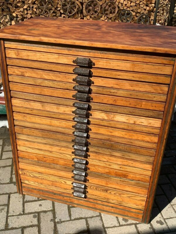 Antique Hamilton Printers Type Cabinet - Huge..20 drawers .Restored