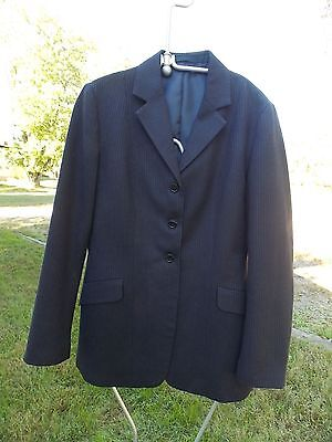 NO TAG NAME SHOW JACKET LADIES SIZE 38 NAVY BLUE PIN USED MADE IN ENGLAND.
