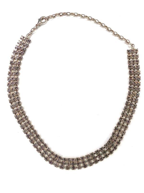 """EUC 3 Strand Rhinestone Choker Necklace 12"""" Adjustable Unbranded Shiny"""