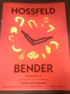 Hossfeld Bender #2 INSTRUCTION OWNERS MANUAL 2 UNIVERSAL PIPE TUBE TUBING DIE