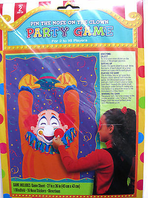 PIN THE NOSE ON THE CLOWN PARTY GAME BIRTHDAY CARNIVAL CHILD'S KIDS CIRCUS FUN   - Pin The Nose On The Clown