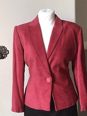 Country Casuals Jacket 14/16 Chenille Red Peplum Blazer Vintage Vamp