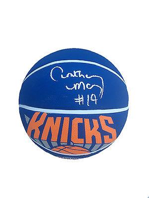 Anthony Mason Signed New York Knicks Logo Basketball JSA