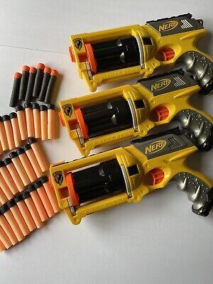 NERF N-Strike Yellow Maverick Rev-6 Blaster Gun Set Lot of 3 Yellow Toy TESTED