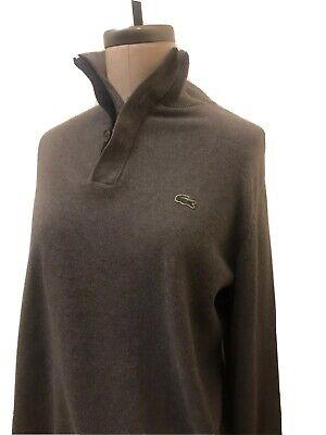 MENS Lacoste Gray Turtleneck Sweater-Quarter Zip/Button- Size 5 (M)