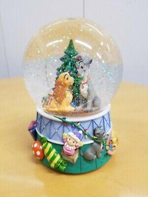 Disney Enesco Lady And The Tramp Dog Christmas Tree Music Deck Halls Snow Globe