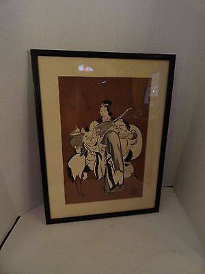 VINTAGE - CHINESE ART FRAMED DRAWING - WOMEN w/ 3 MEN & BIRD - 19 X 14 INCHES