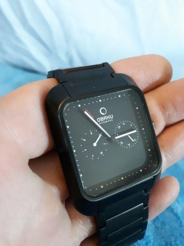 Obaku metal Band black Stainless Steel rectangle square Dial Wrist Watch Denmark