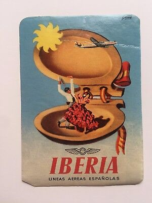 Vintage Airline Sticker   Luggage Label   Iberia Airlines W  Dancers