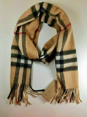 BURBERRY 100% Cashmere Scarf Classic Check With Roll Tube Box 100% Authentic