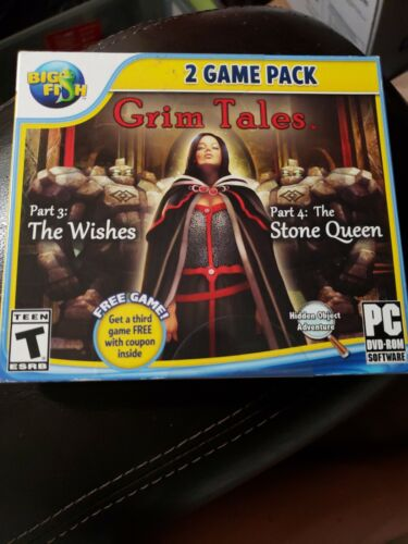 Grim Tales THE WISHES & THE STONE QUEEN & BONUS! Hidden Object PC Game  NEW