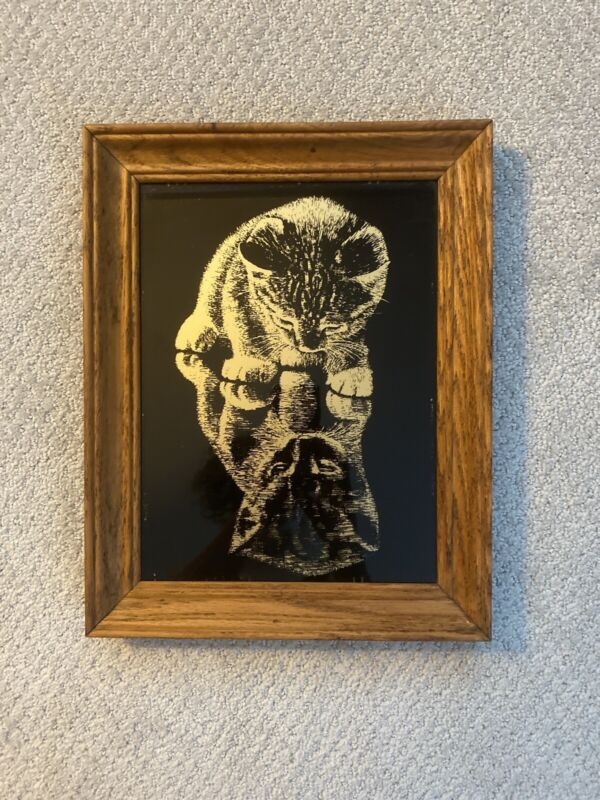 "UNIQUE Vintage 14"" Wood Framed Reverse Glass Cat Painting Picture Wall Art"