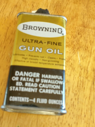 Vintage  Browning Ultra-Fine Gun Oil Tin Can - near half full