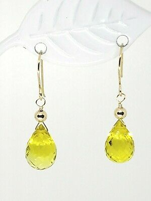 14k Yellow Gold Lemon Quartz Briolette Drop Dangle Earrings