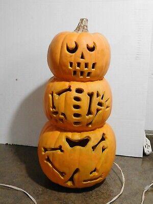 """HTF 18"""" Gemmy Foam Blow Mold Halloween JOL Stacked Totem Skeleton Bones Pumpkin"""