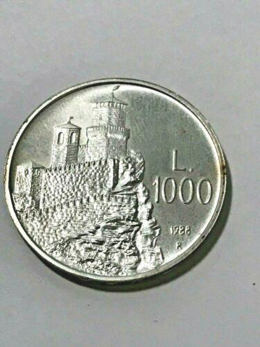 1988-R Sam Marino 1000 Lire Silver Gem BU #19661