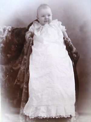 Antique Cabinet Card Baby in Long Flowing Christening Gown Photo By Gray Boston for sale  Middleton