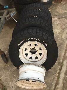 SET OF 5 ROH STEEL RIMS WITH BF TYRES OFF Toyota Land Cruiser 4x4 Browns Plains Logan Area Preview