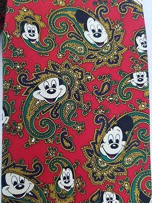 Men Tie Disney Balancine Mickey Mouse Face Loud Paisley Red Blue Green 100% Silk