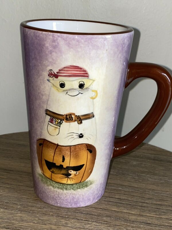 Sakura MASQUERADE Halloween Tall Coffee Mug Ghost Pumpkin Debbie Taylor Kerman