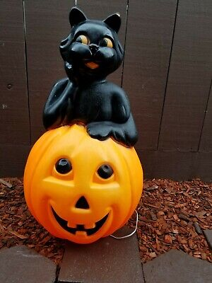 Vintage EMPIRE Halloween Blow Mold BLACK CAT IN PUMPKIN Lighted Yard Decoration!