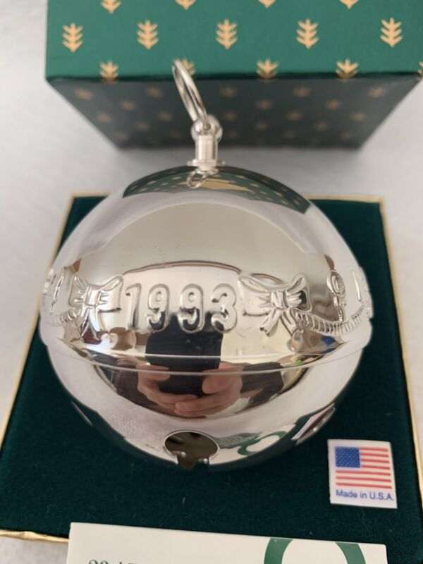 1993 Wallace Sterling Silver Plate Sleigh Bell Ornament Warmth of Christmas Vtg