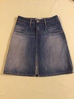 Vintage Paper Denim Cloth A-Line Front Slit Jean Skirt Size 28 Tsunami Wash