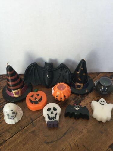 Lot of 10 Halloween Candles Pumpkin Witch Hats Bat Ghost Skeleton Cauldron