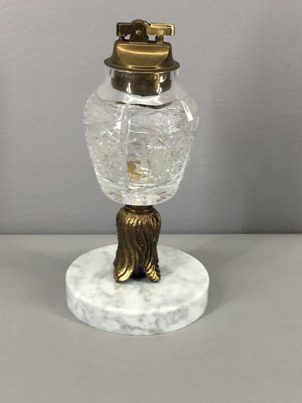Vintage Crystal Cut Glass Cigarette Lighter Japan on Italian Marble Base