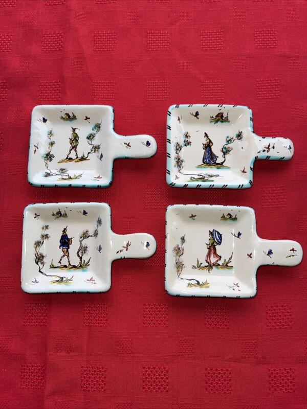 Vintage Set Of 4 Teaspoon SPOON REST Ceramic Made In Italy Signed By Artist 540