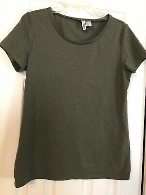 Divided By H&M Basic T Shirt Top Womens Size L Short Sleeve Olive Gray